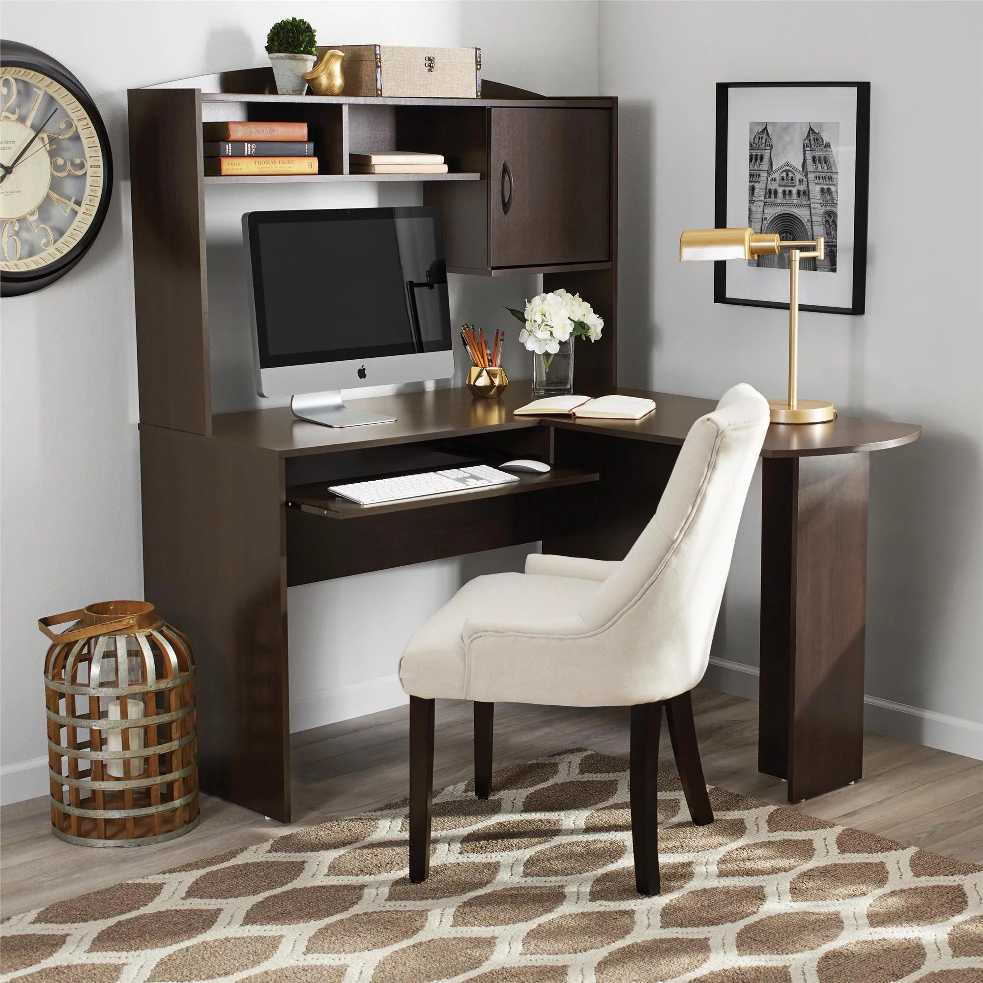 mainstays l shaped desk with hutch espresso