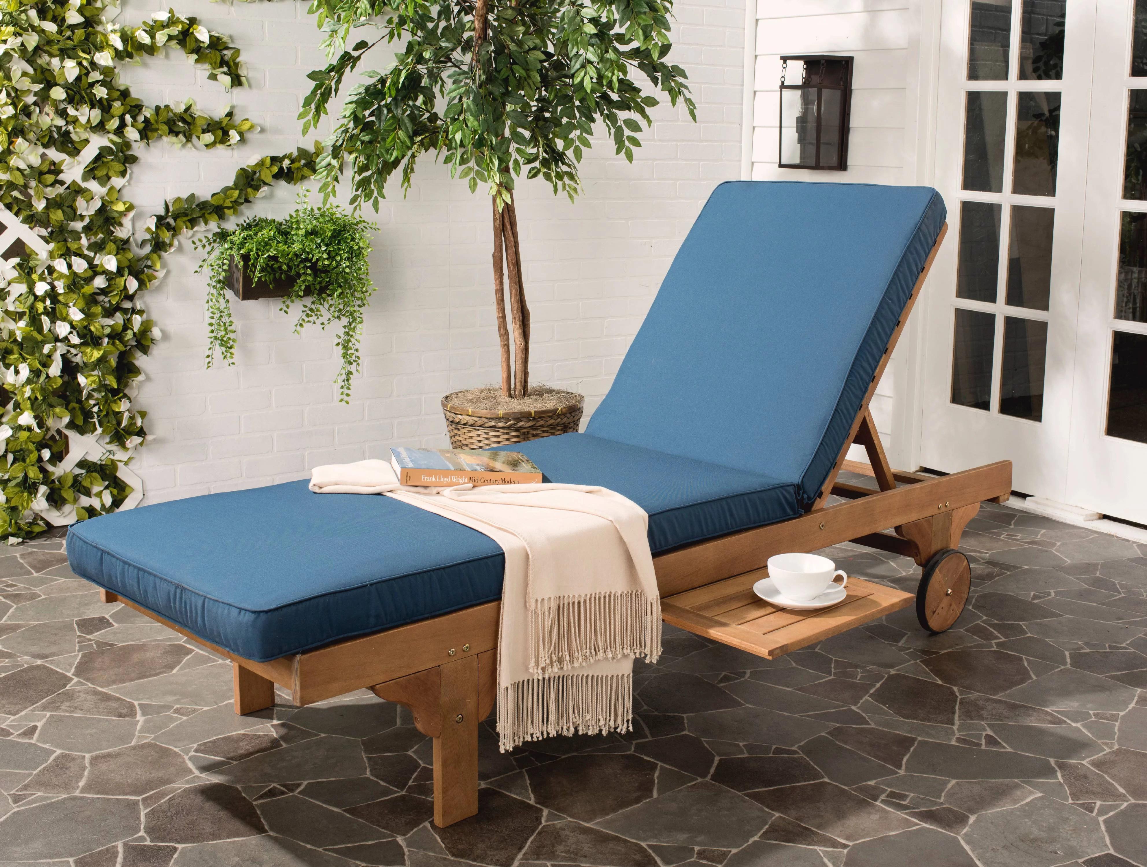 safavieh newport outdoor modern chaise lounge chair with cushion walmart com