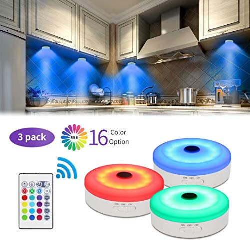 bason puck lights with remote under cabinet led lighting rgb wireless rechargeable light for closet display case 3 pack