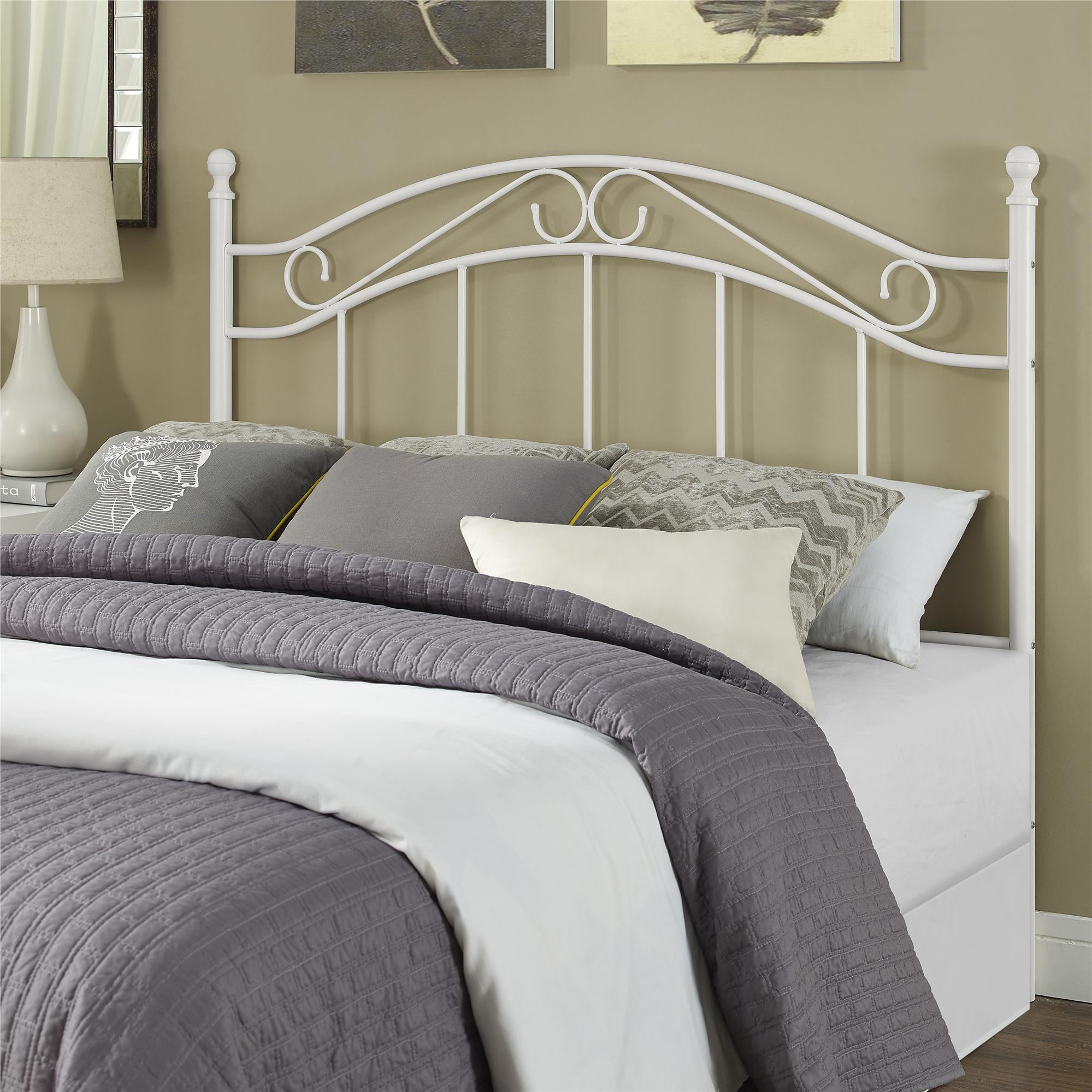 mainstays full queen metal headboard with delicate detailing white