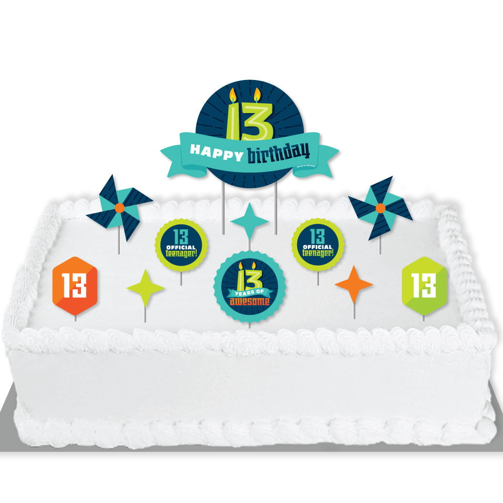 Boy 13th Birthday Official Teenager Birthday Party Cake Decorating Kit Happy Birthday Cake Topper Set 11 Pieces Walmart Com Walmart Com
