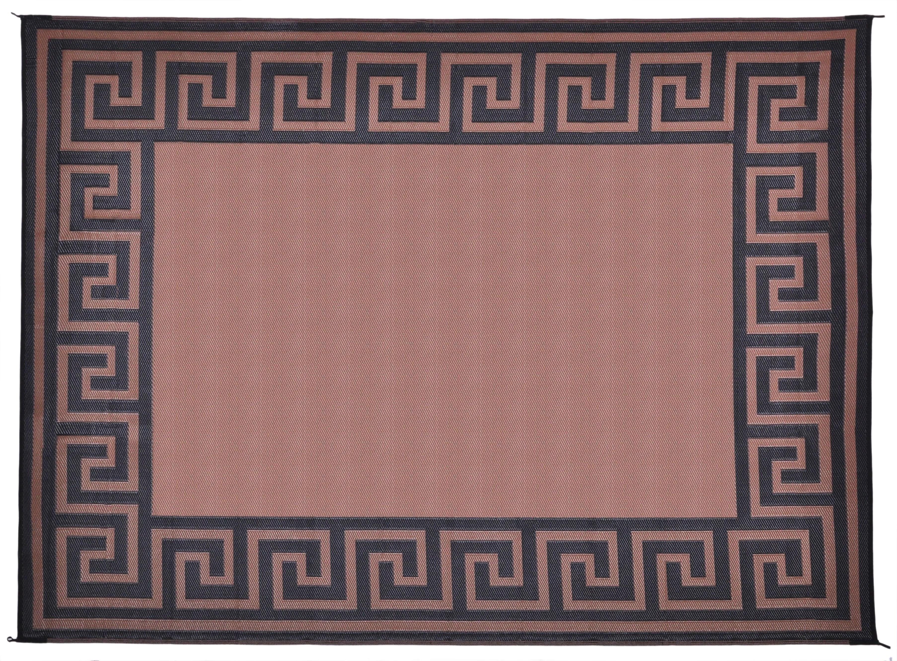 patio mats 9x12 reversible rv outdoor patio mat camping mat greek key tan
