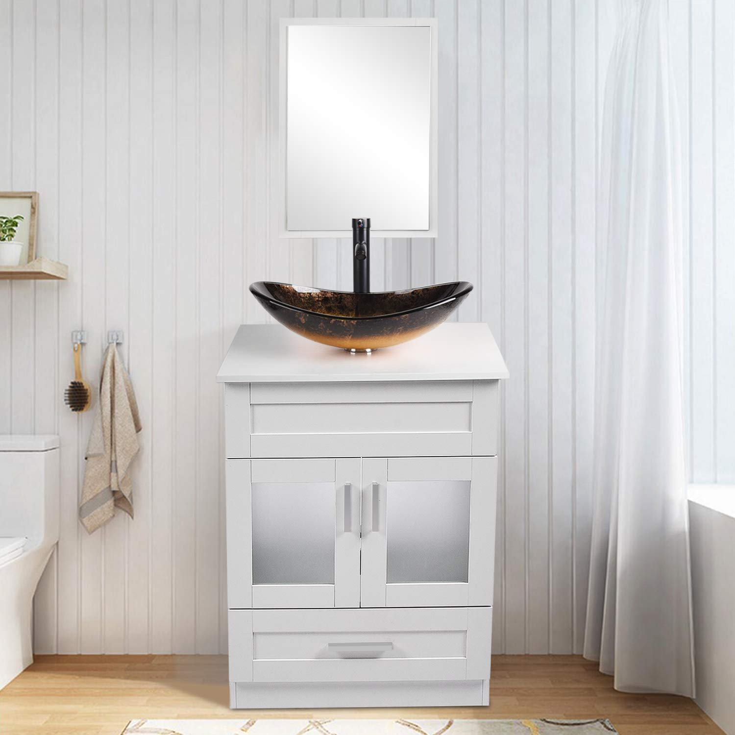24 inch bathroom vanity set with sink pvc board cabinet vanity combo with counter top glass vessel sink vanity mirror and 1 5 gpm faucet