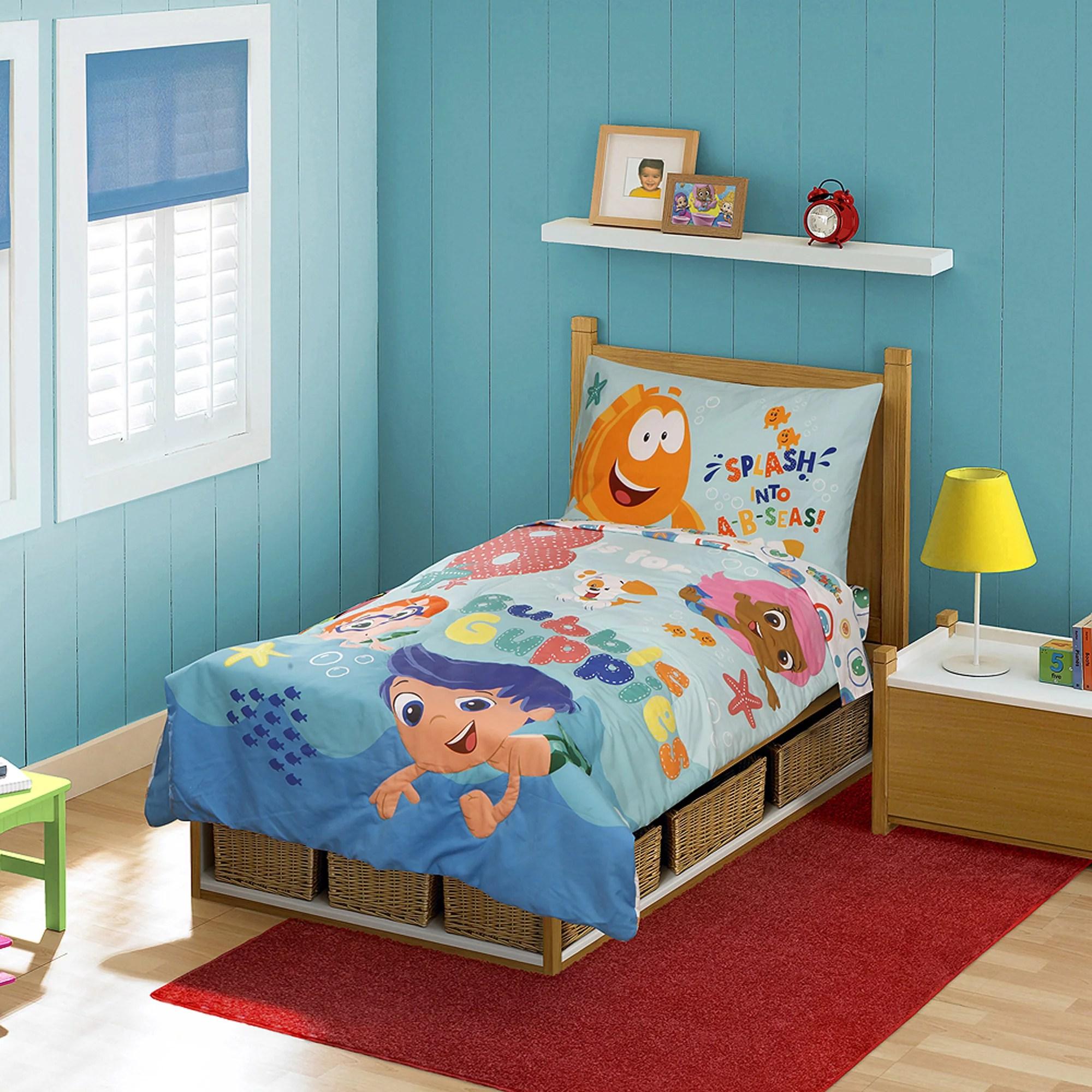 bubble guppies 4pc toddler bedding set - walmart