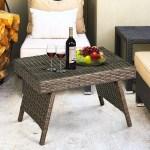 Costway Mix Brown Folding Rattan Side Coffee Table Patio Garden Outdoor Furniture Walmart Canada
