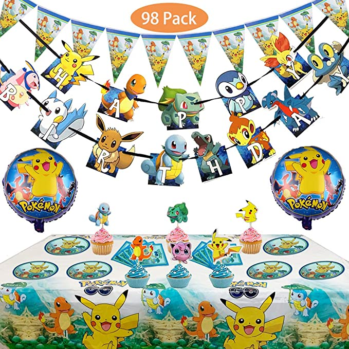 Set Of 98 Pcs Inspired Pokemon Birthday Party Supplies For Kids And Boys Includes Birthday Cake Decorations Plates Table Cloth Walmart Com Walmart Com