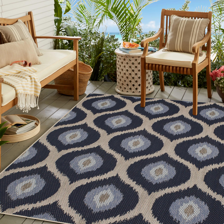 mainstays madina isle medallion outdoor area rug blue 6 x9 walmart com