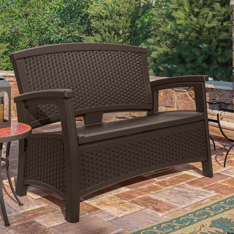 Suncast Elements Resin Wicker Bench With Storage Walmart Com