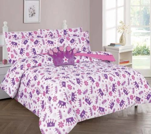 twin crown girls bedding set beautiful microfiber comforter with furry friend and sheet set 6 piece kids bed in a bag