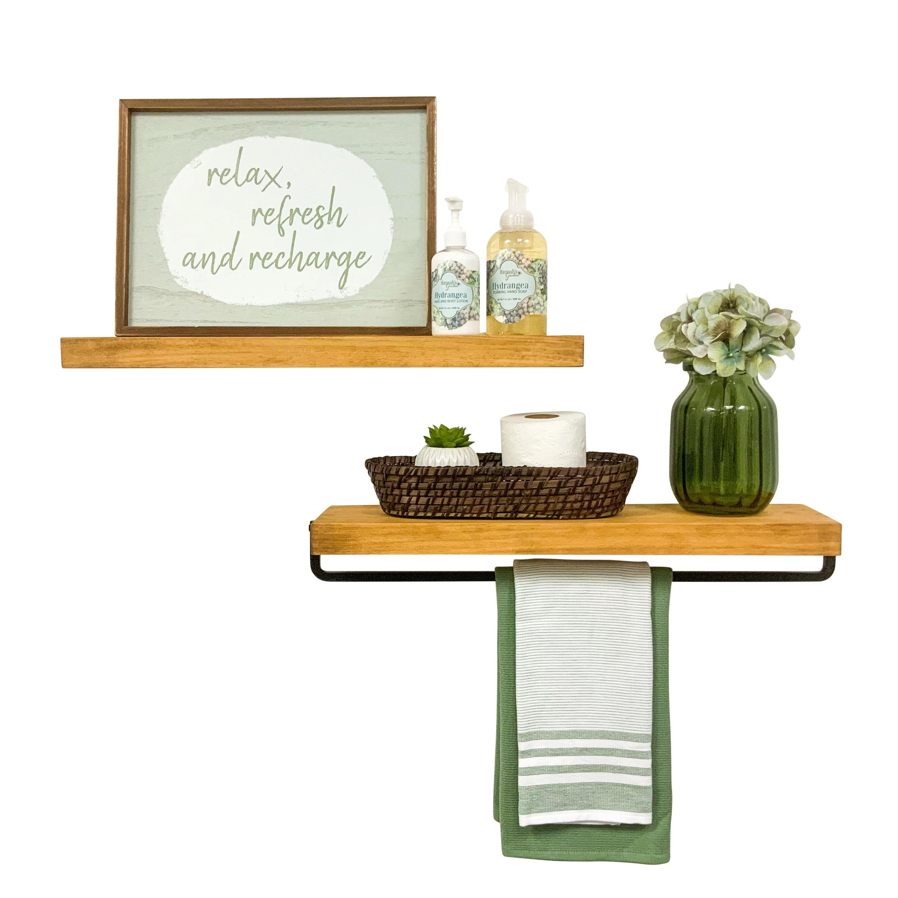 del hutson designs walnut 24inch rustic true floating wood shelf with towel rack