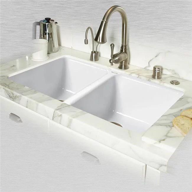 ceco 748 um white doheny enameled cast iron undermount 50 50 double bowl sink white