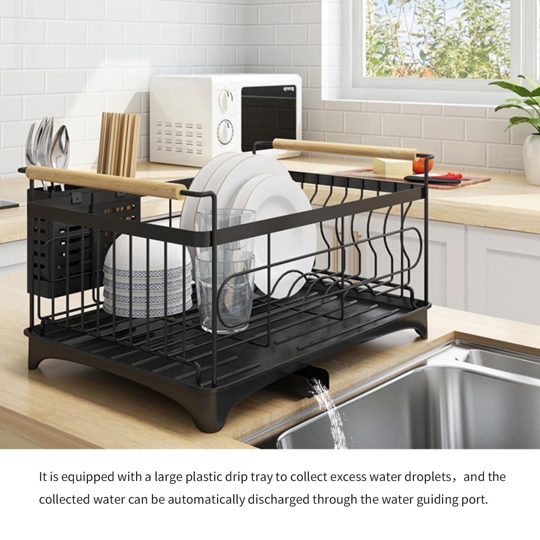 stainless steel kitchen sink drying shelf cutlery drain rack organizer with chopsticks cage walmart com
