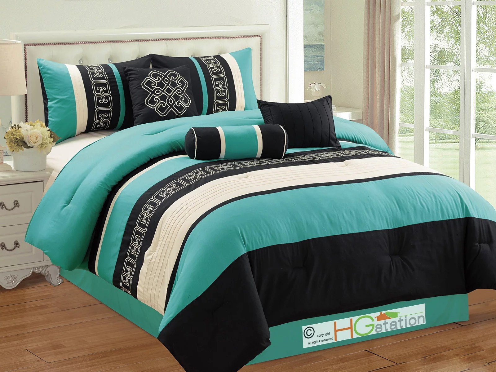 7 pc greek key meander motif embroidery pleated comforter set turquoise blue black ivory queen walmart com