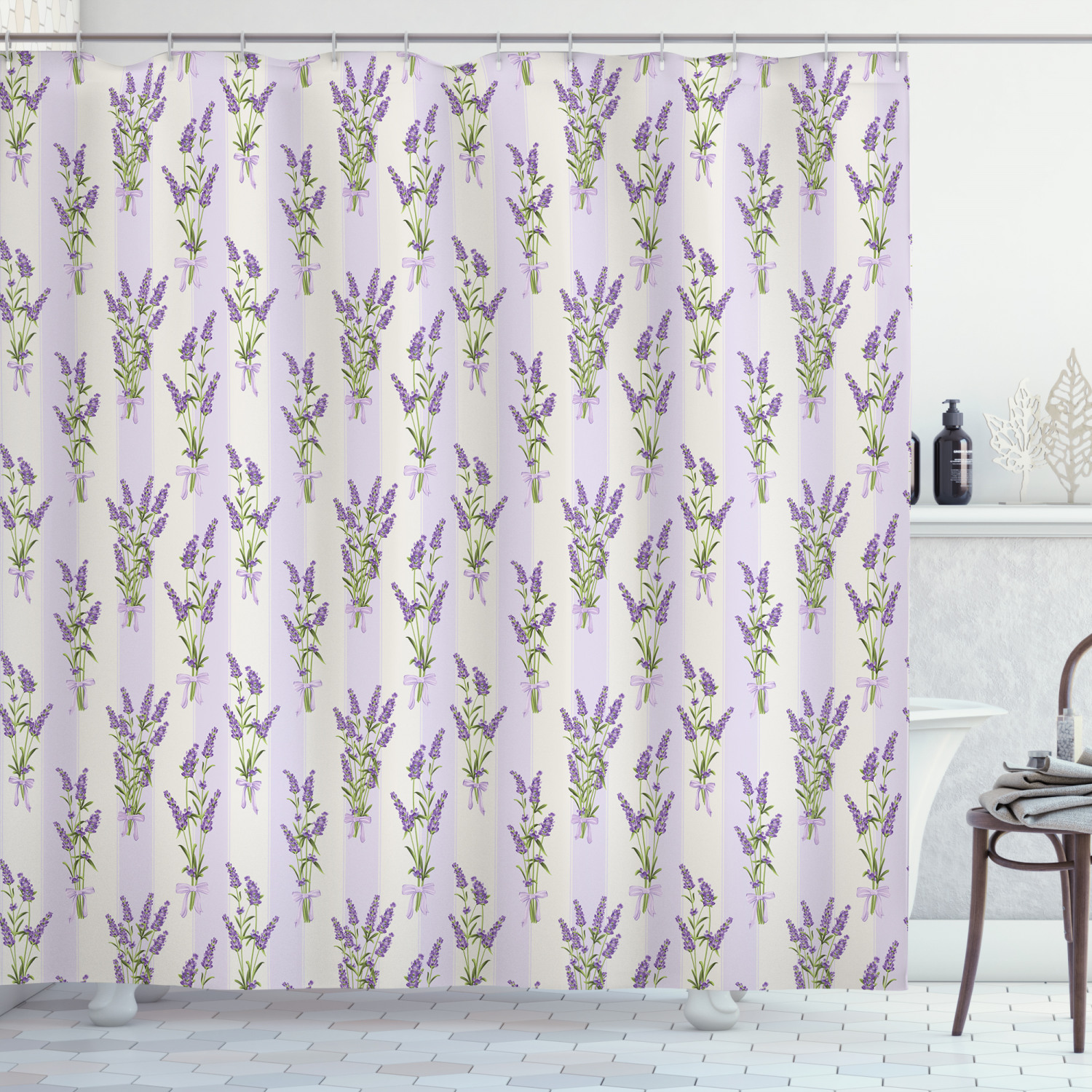 lavender shower curtain stripes and flowers with ribbons romantic country spring season inspired design art fabric bathroom set with hooks purple