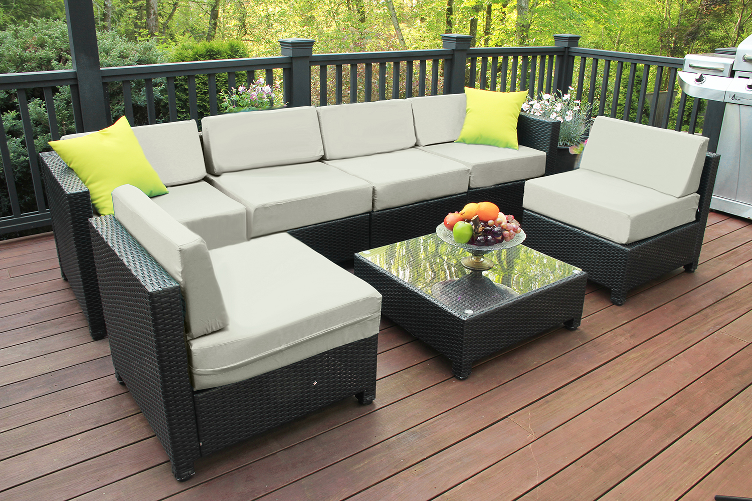 mcombo aluminum outdoor patio furniture sectional set black wicker sofa all weather resin rattan conversation chair with cushions 6080 1007 cw