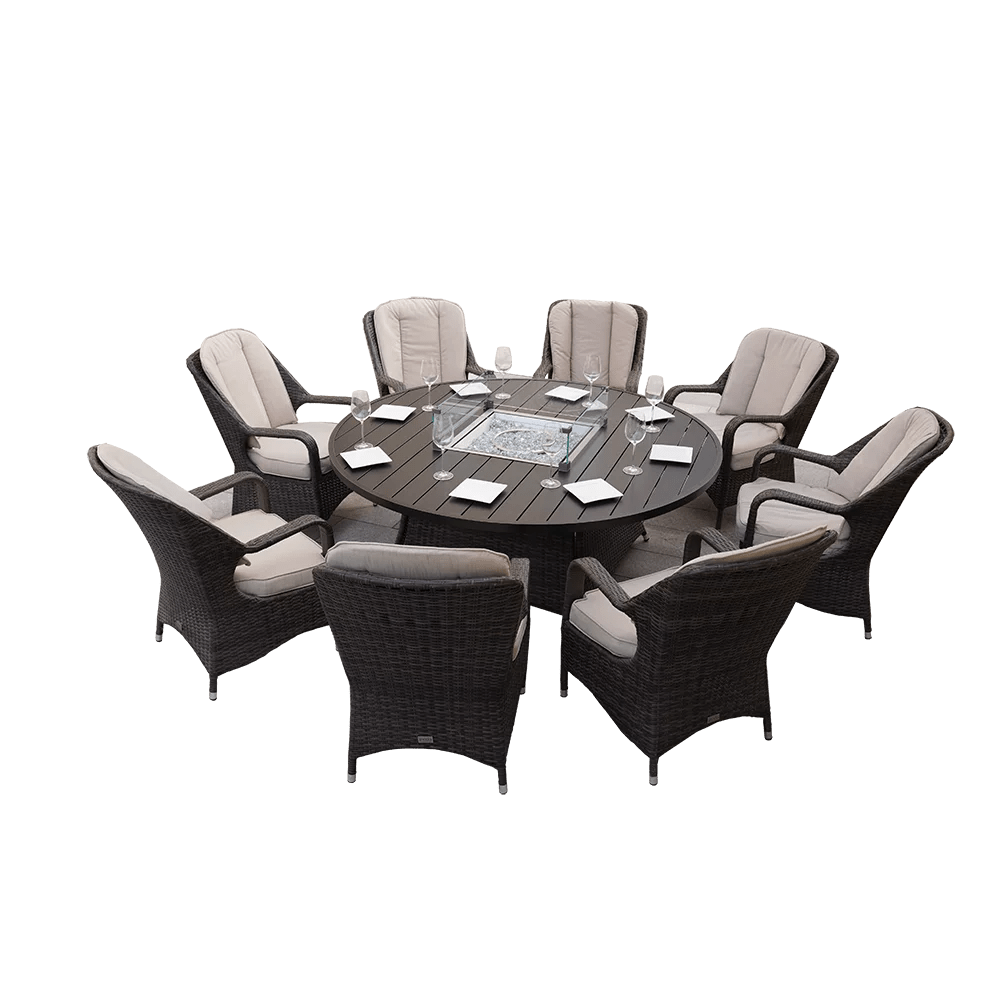 direct wicker 8 seat round gas fire pit dining table with eton chair
