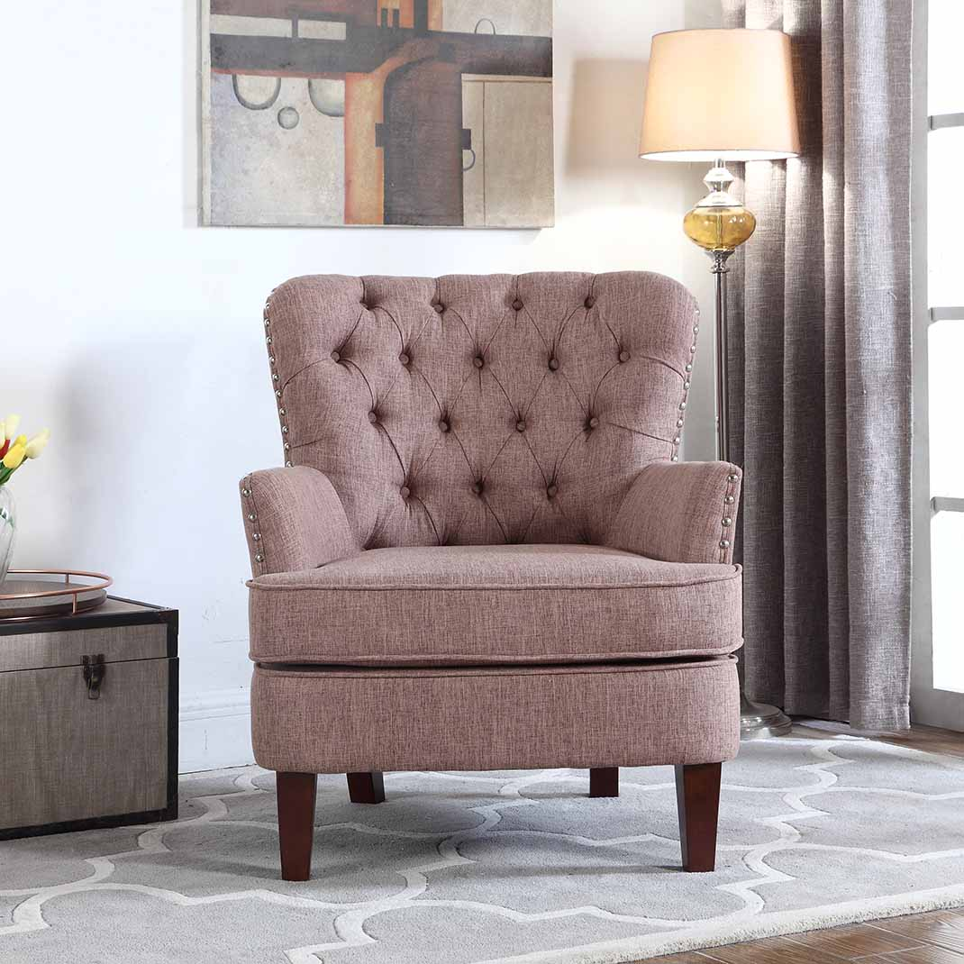 button tufted accent chair with nailhead brown color