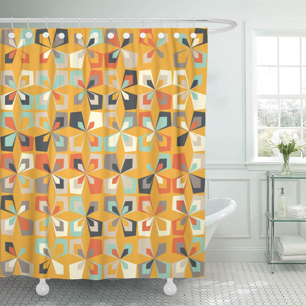 ksadk midcentury geometric retro vintage brown orange and teal colors floral mod abstract 60s shower curtain bathroom curtain 66x72 inch