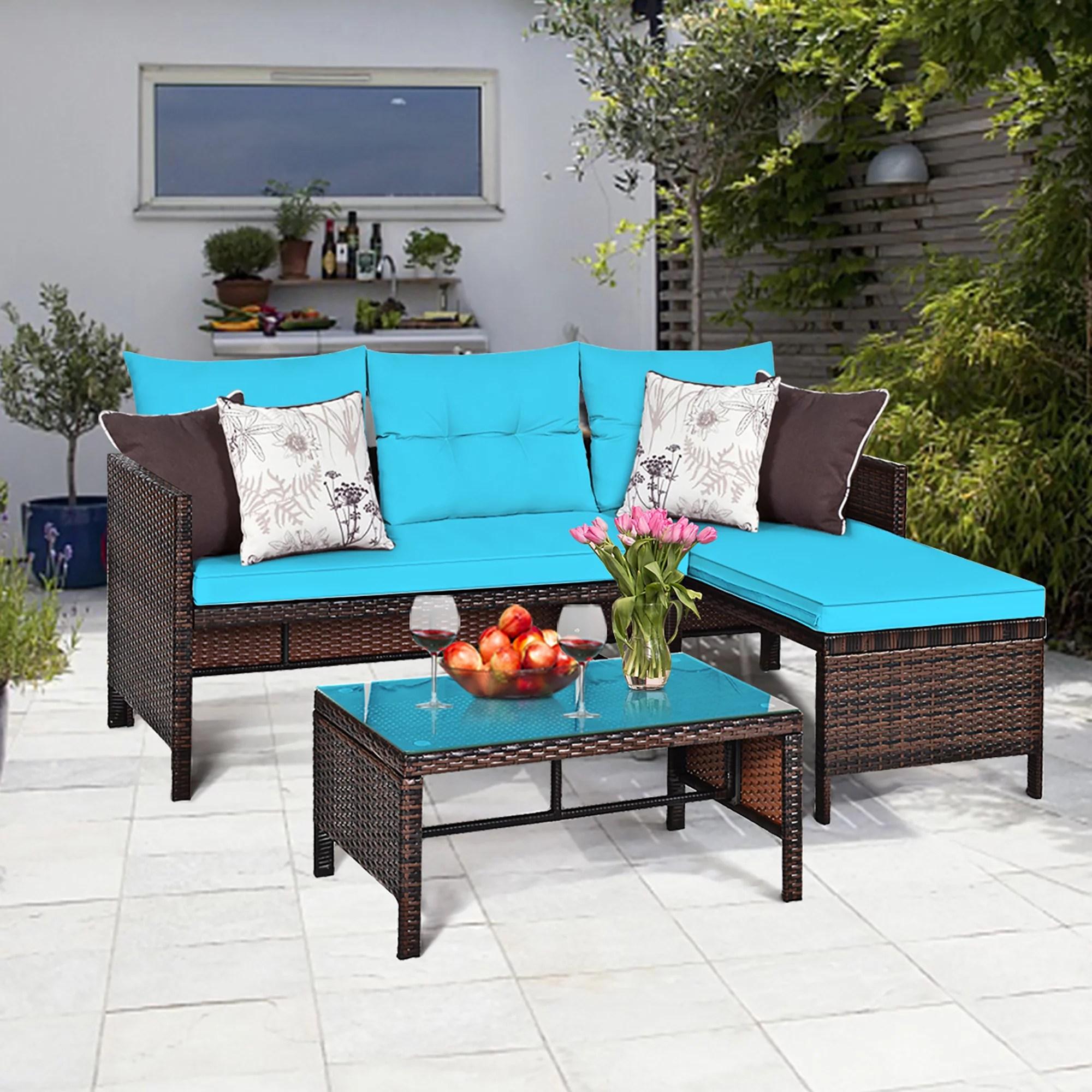 costway 3pcs patio wicker rattan sofa set outdoor sectional conversation set turquoise