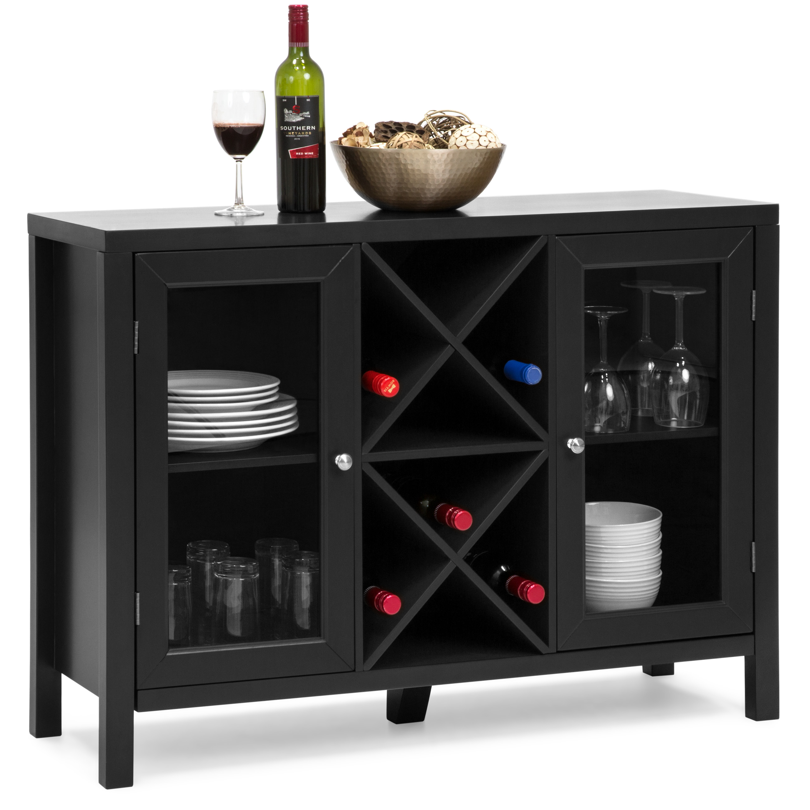 best choice products wooden wine rack console sideboard table w storage black