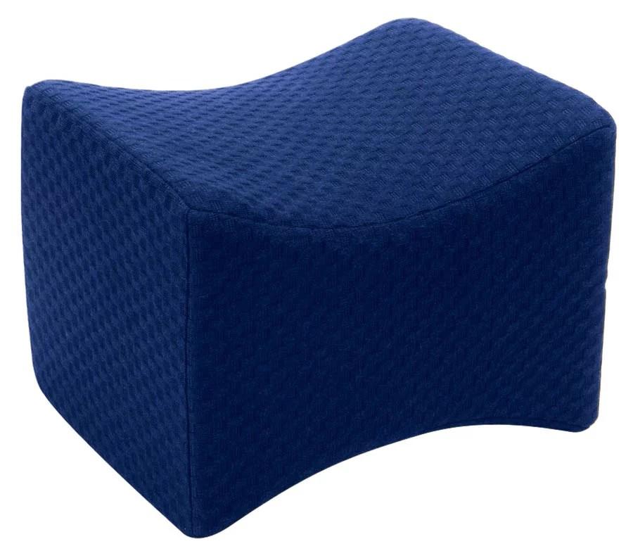 carex memory foam knee pillow for side sleeping navy blue