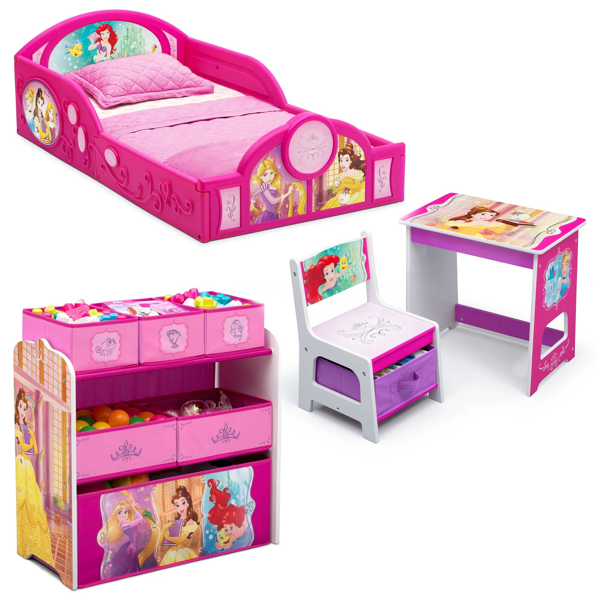 Disney Princess 4 Piece Room In A Box Bedroom Set By Delta Children Includes Sleep Play Toddler Bed 6 Bin Design Store Toy Organizer And Desk With Chair Walmart Com Walmart Com