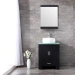 Wonline 24 Black Wood Bathroom Vanity Cabinet Modern Mirror Walmart Com Walmart Com