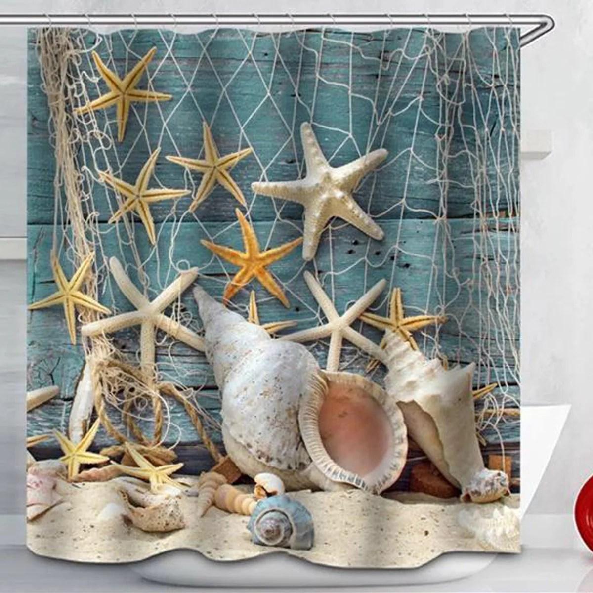 71 x71 sea shell shower curtain waterproof beach curtain decor bathroom set 12 hooks rings home decor christmas gift