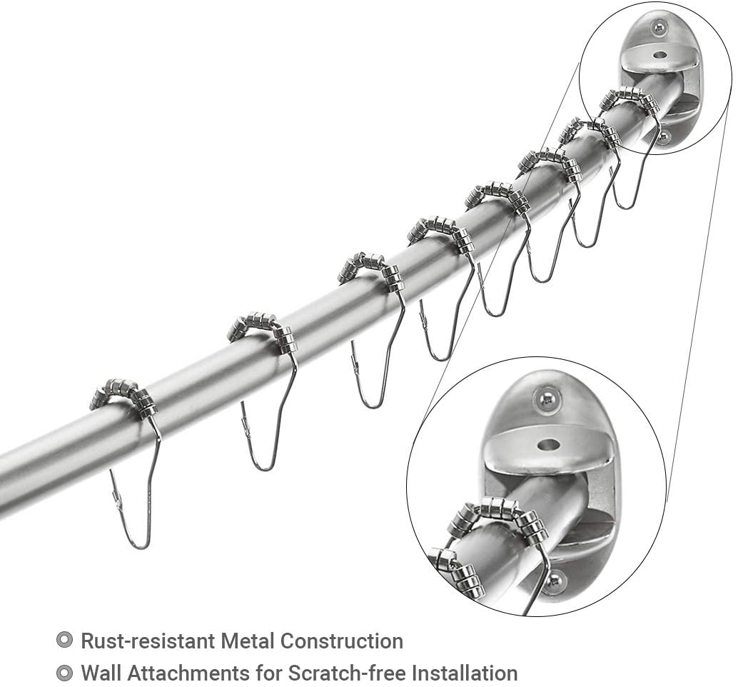 excell 40 72 adjustable curved shower curtain rod brushed nickel