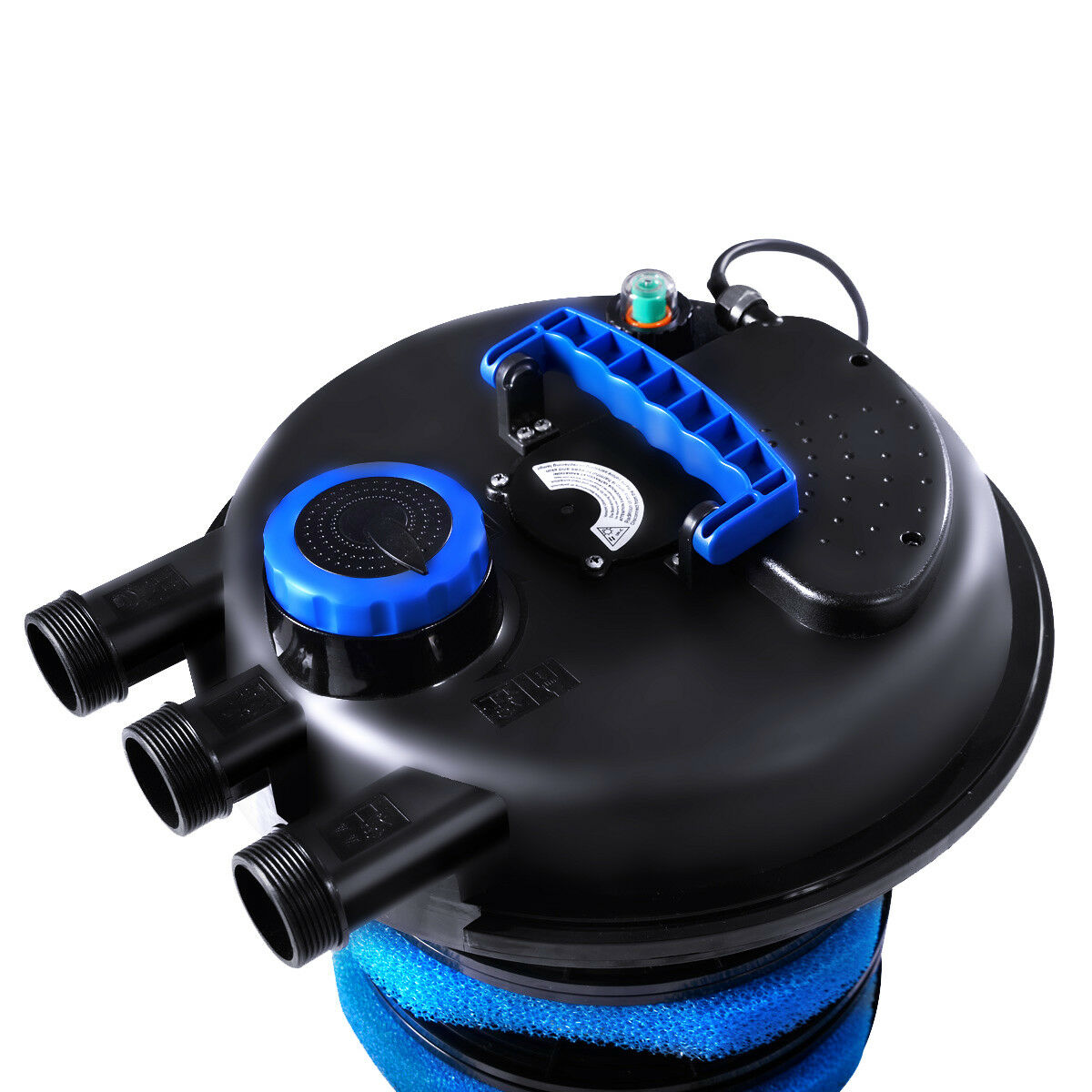 filtre de bassin avec 11 w lampe uv 3 sorties d eau debit maximum 12000l h volume du filtre 25 l filtre professionnel pour etangs 38 x 38 x 51