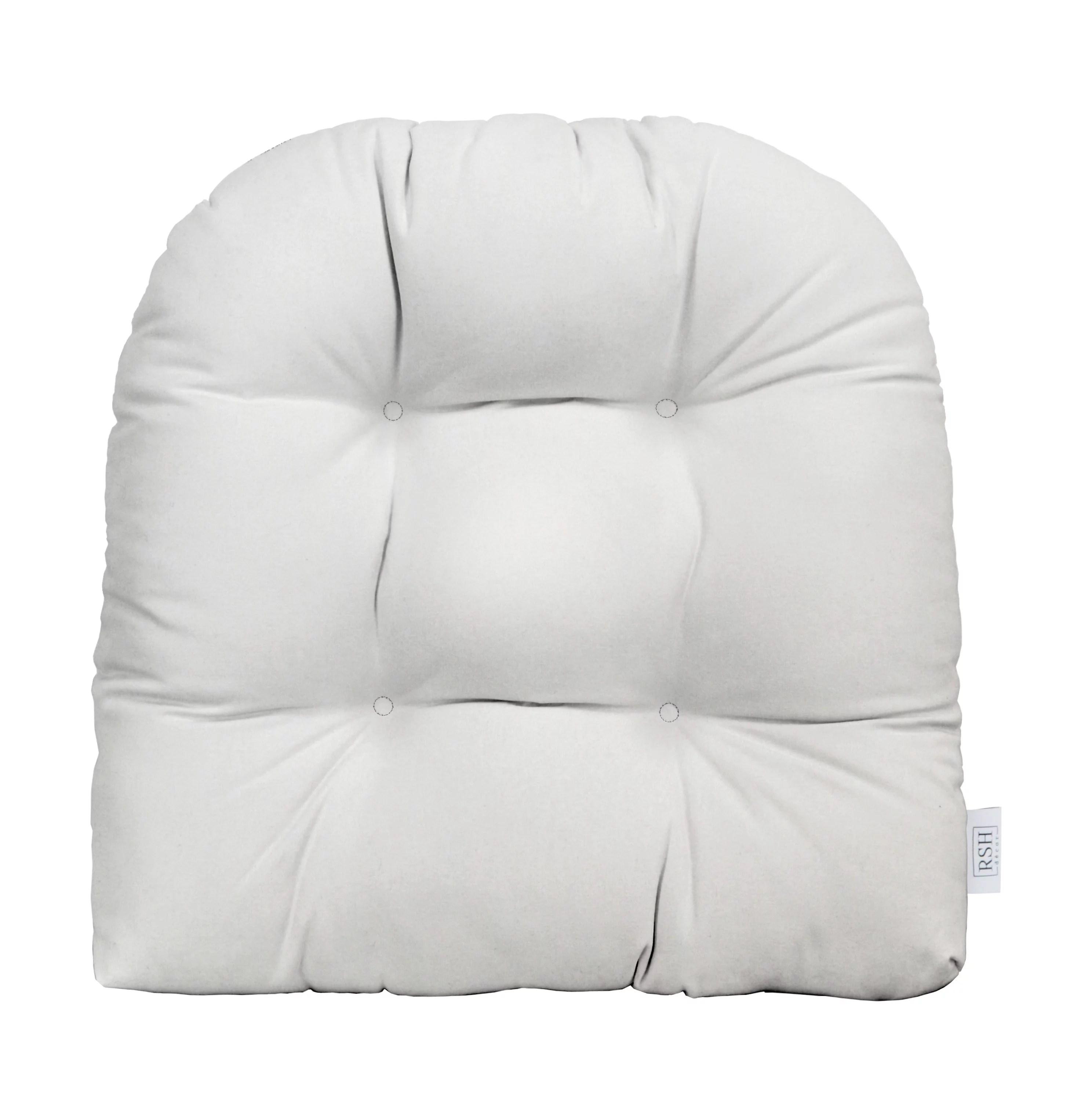 rsh decor indoor outdoor u shape universal wicker tufted seat cushion patio weather resistant sunbrella canvas white