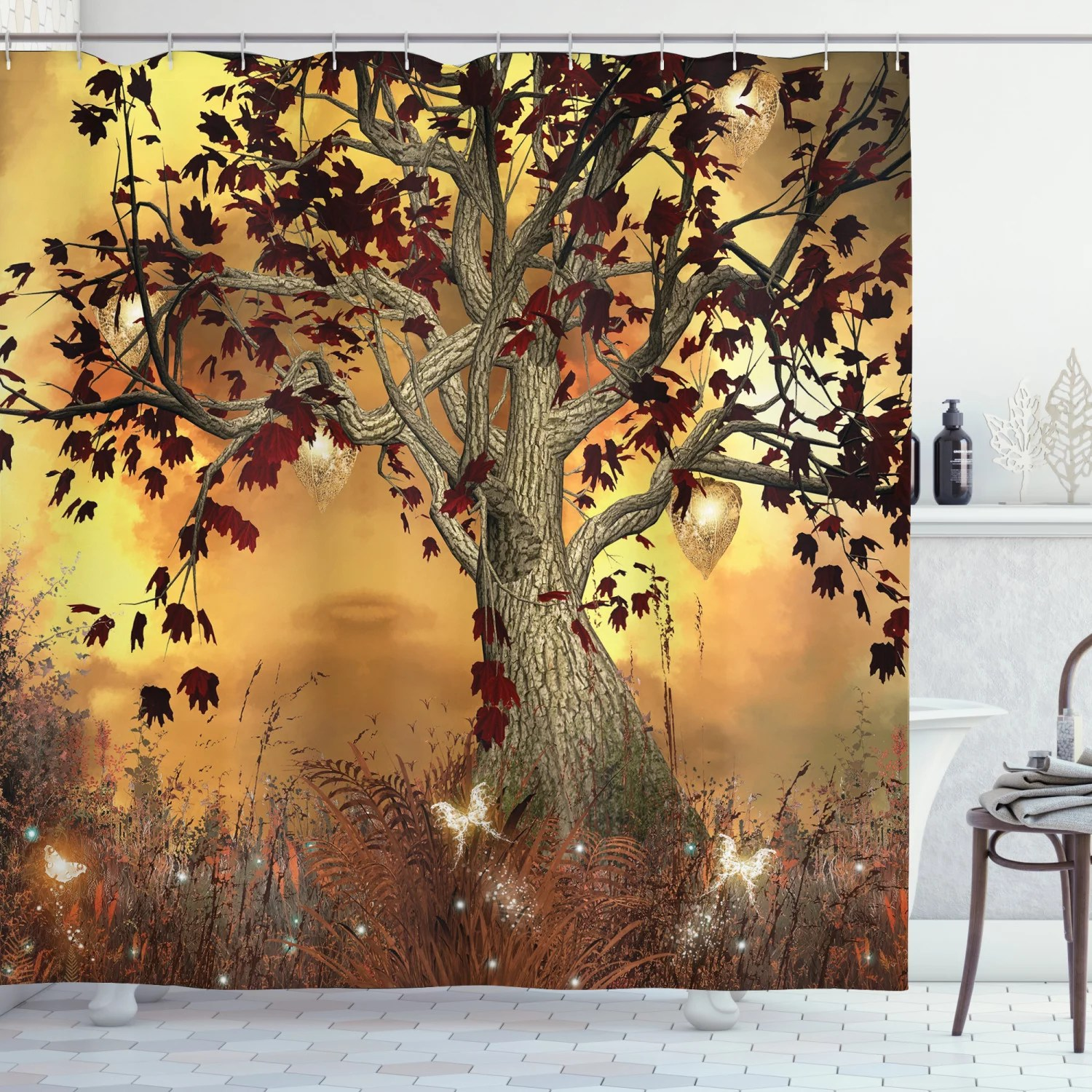 old twisted tree fabric shower curtain extra long 84 inch bathroom decorations walmart com