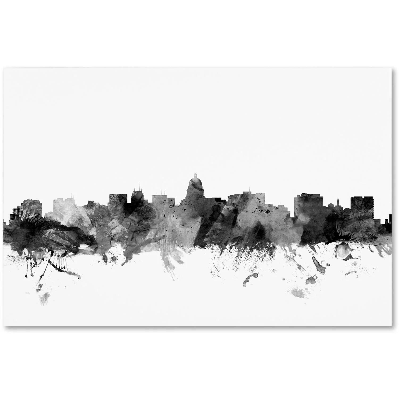 Trademark Fine Art Madison Wisconsin Skyline B Amp W Canvas