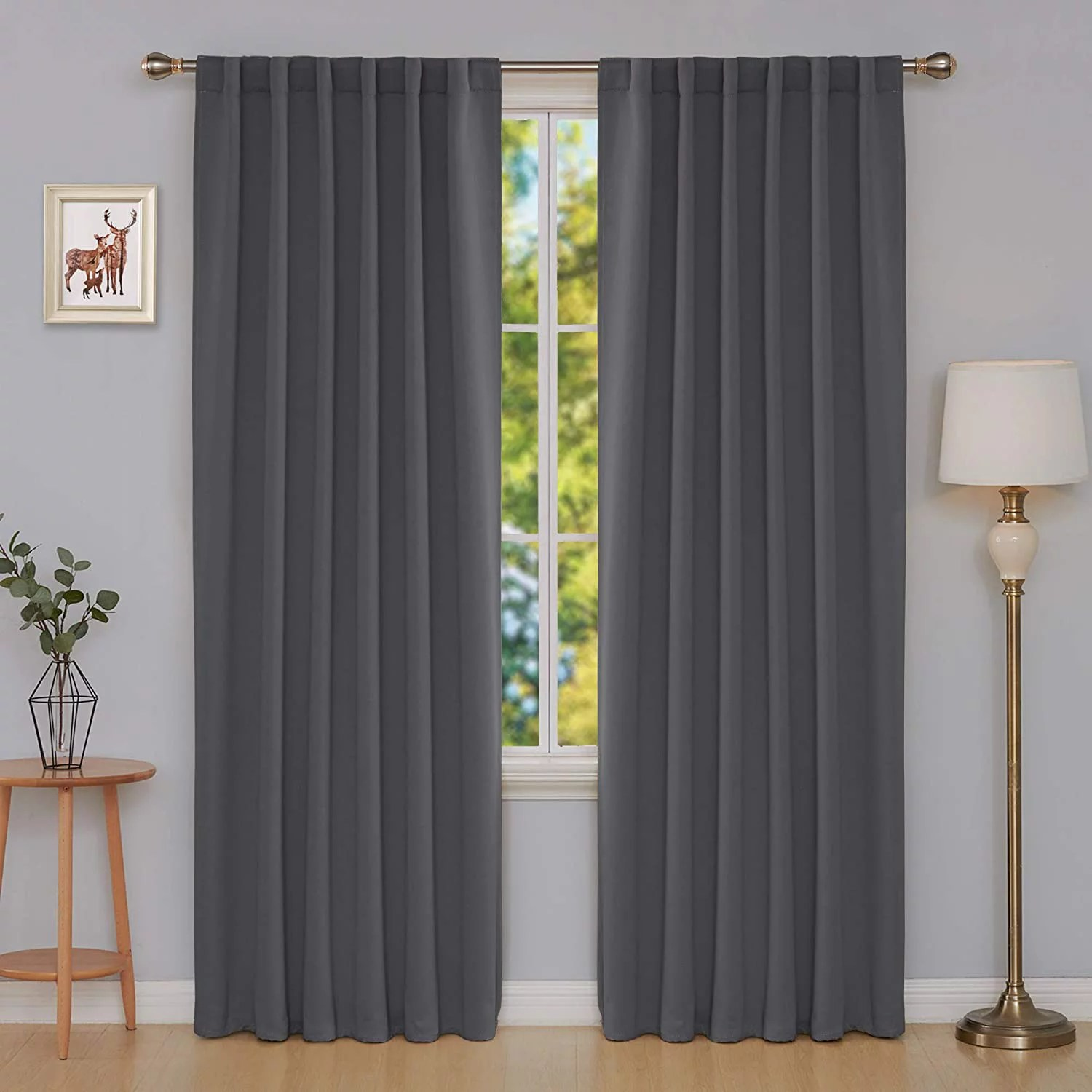 deconovo long blackout patio door curtains back tab and rod pocket thermal insulated room darkening curtains for window 52x108 inch dark grey 2 panels