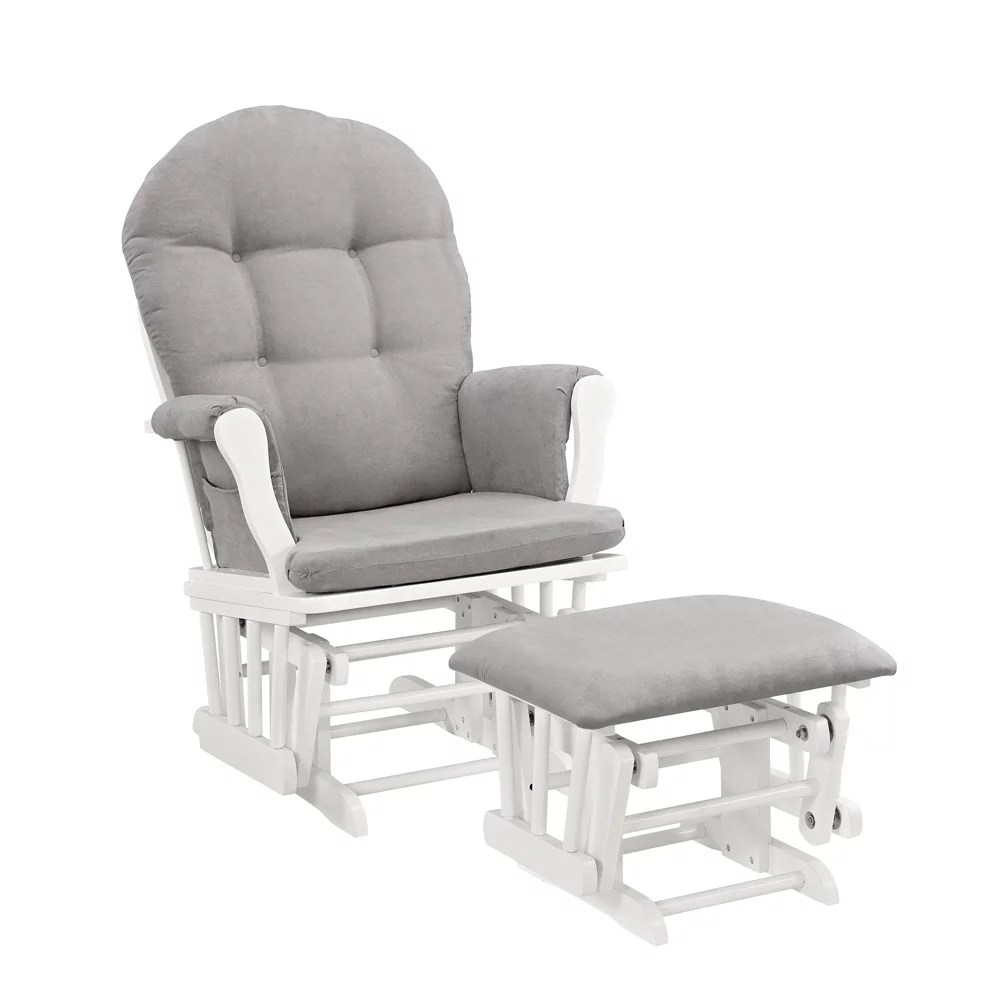 Angel Line Windsor Glider And Ottoman White Finish And