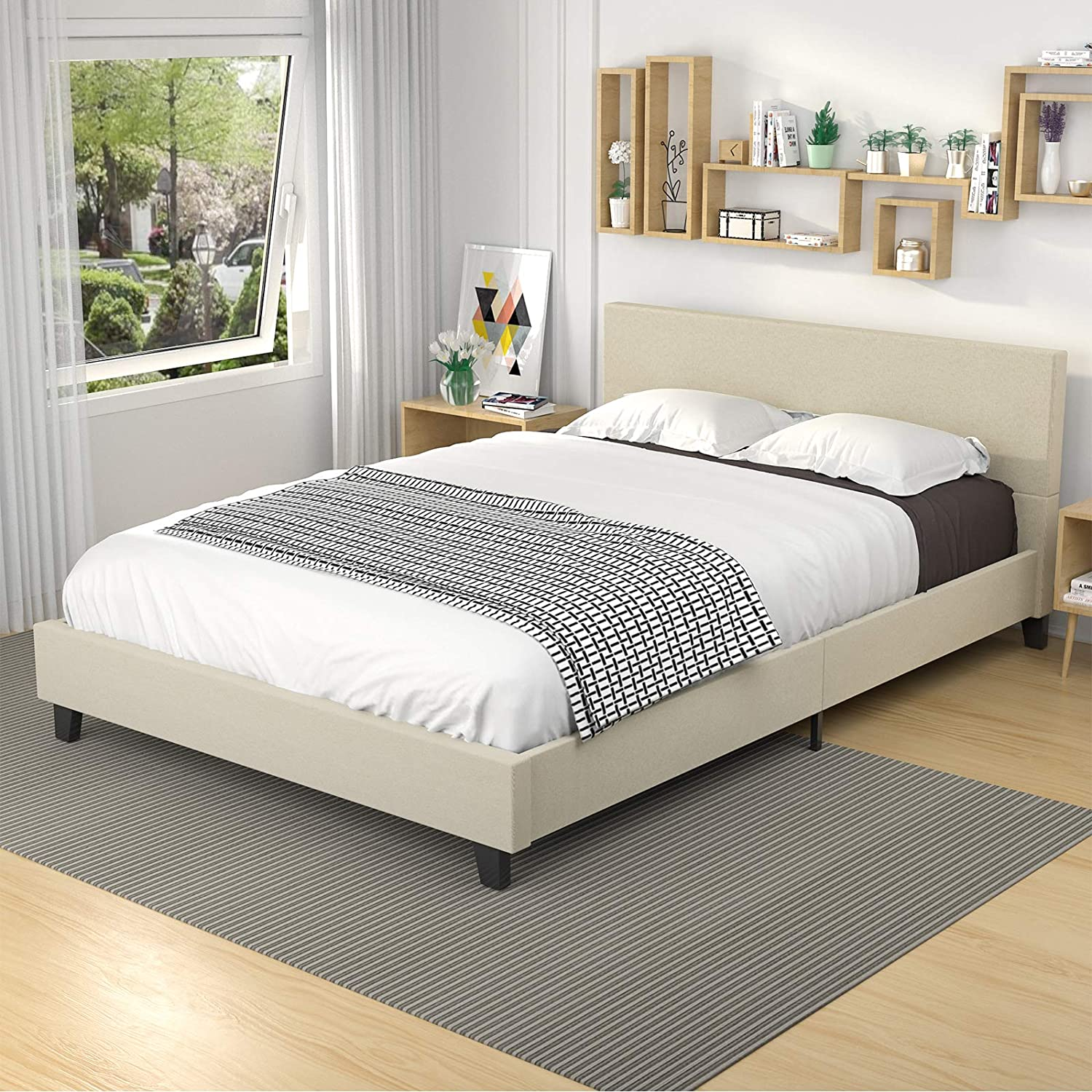 mecor upholstered linen platform bed frame queen bed frame with fabric headboard strong wood slats support easy assembly queen beige walmart com