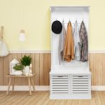 White Finish Wooden Corner Hall Tree Coat Rack Hat 4 Hooks Storage Stand Bench Home Organization Coat Hat Racks