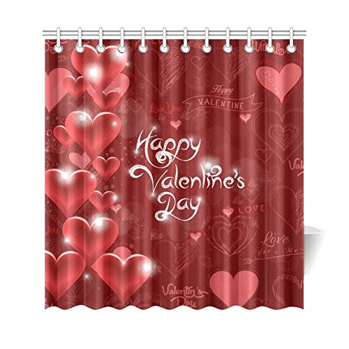 artjia valentine s day shower curtain red heart shaped love polyester fabric shower curtain bathroom sets 66x72 inches