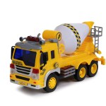 Cement Mixer Truck Toy With Light Sound Effects Friction Powered Wheels Rotating Concrete Mixer Heavy Duty Plastic Vehicle Toy For Kids Children By Toy To Enjoy