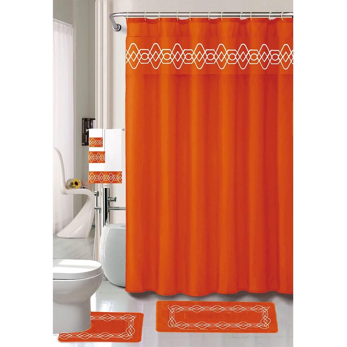 serena embroidery 18 pc bathroom accessories set bath mat contour rug shower curtain with hooks towels orange walmart com