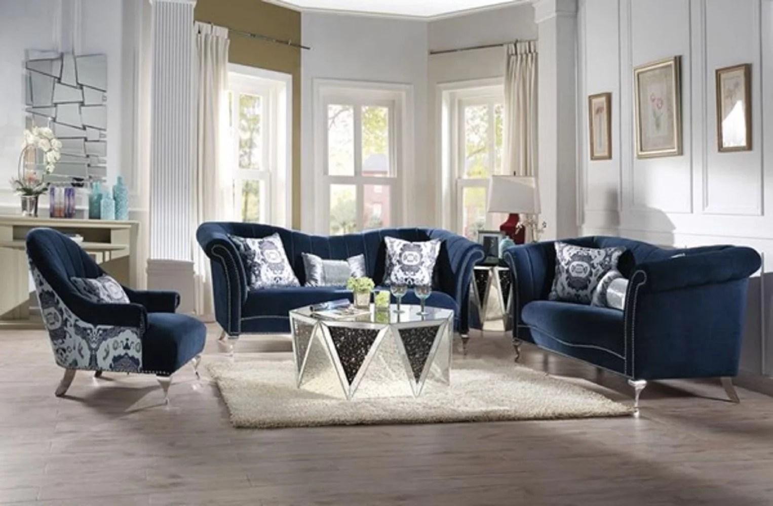 accent chair blue velvet