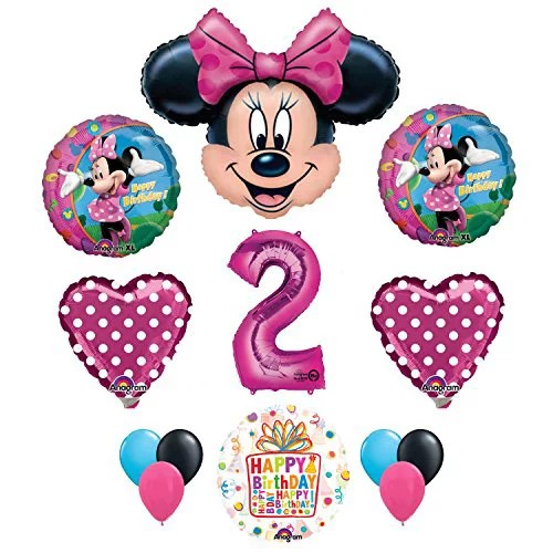 Minnie Mouse 2nd Birthday Party Supplies And Pink Bow 13 Pc Balloon Decorations Walmart Com Walmart Com