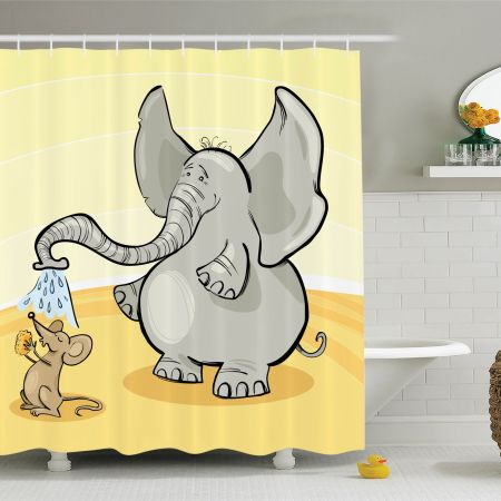 elephants decor shower curtain set, elephant bathing mouse with