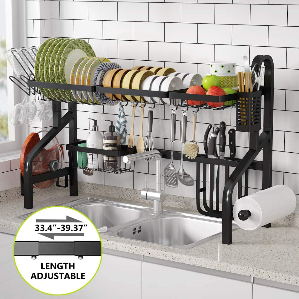 tribesigns over the sink dish drying rack 2 tier large standard stainless steel adjustable above sink dish rack drainer shelf with 7 utility hooks