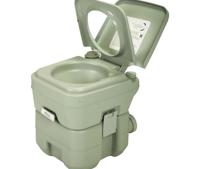 Jaxpety Portable Toilet L Outdoor Camping Toilet Potty Greenish Gray Toilet Waste Tank