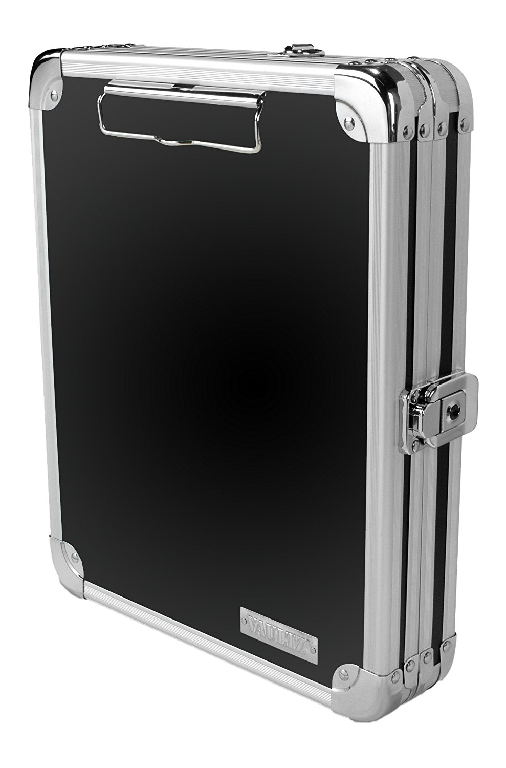 locking mini storage clipboard 5 x 8 inches key lock black with chrome accents vz00150 functional interior features a pen loop and mesh pocket