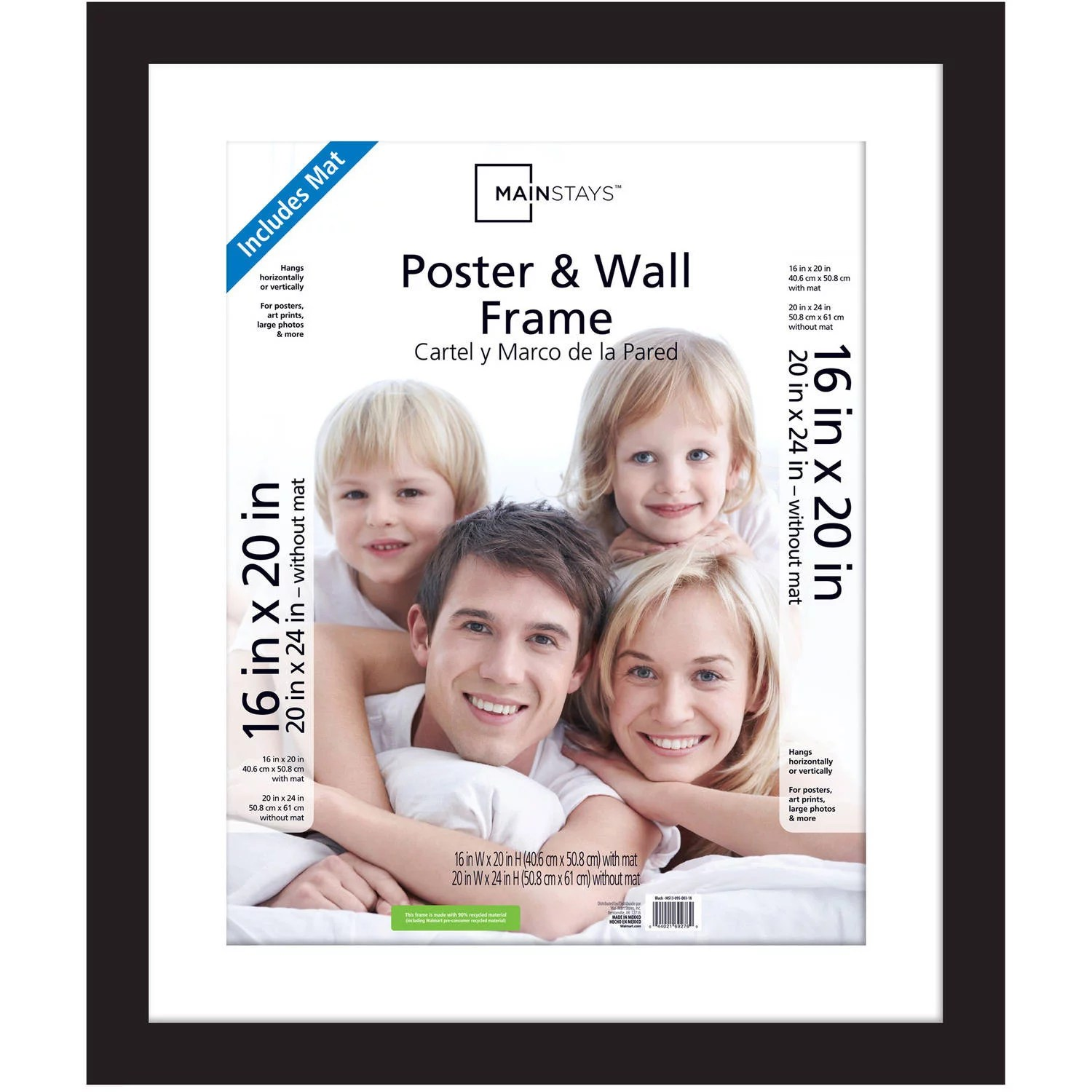 mainstays 20x24 matted to 16x20 flat wide poster and picture frame black walmart com