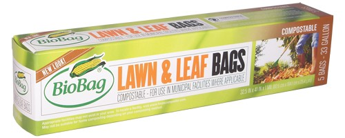 BioBag Green Compostable Lawn & Leaf Bags, 33 Gallon, 5 Ct