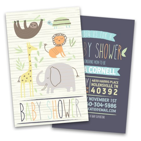 Personalized Jungle Animals Baby Shower Invitations