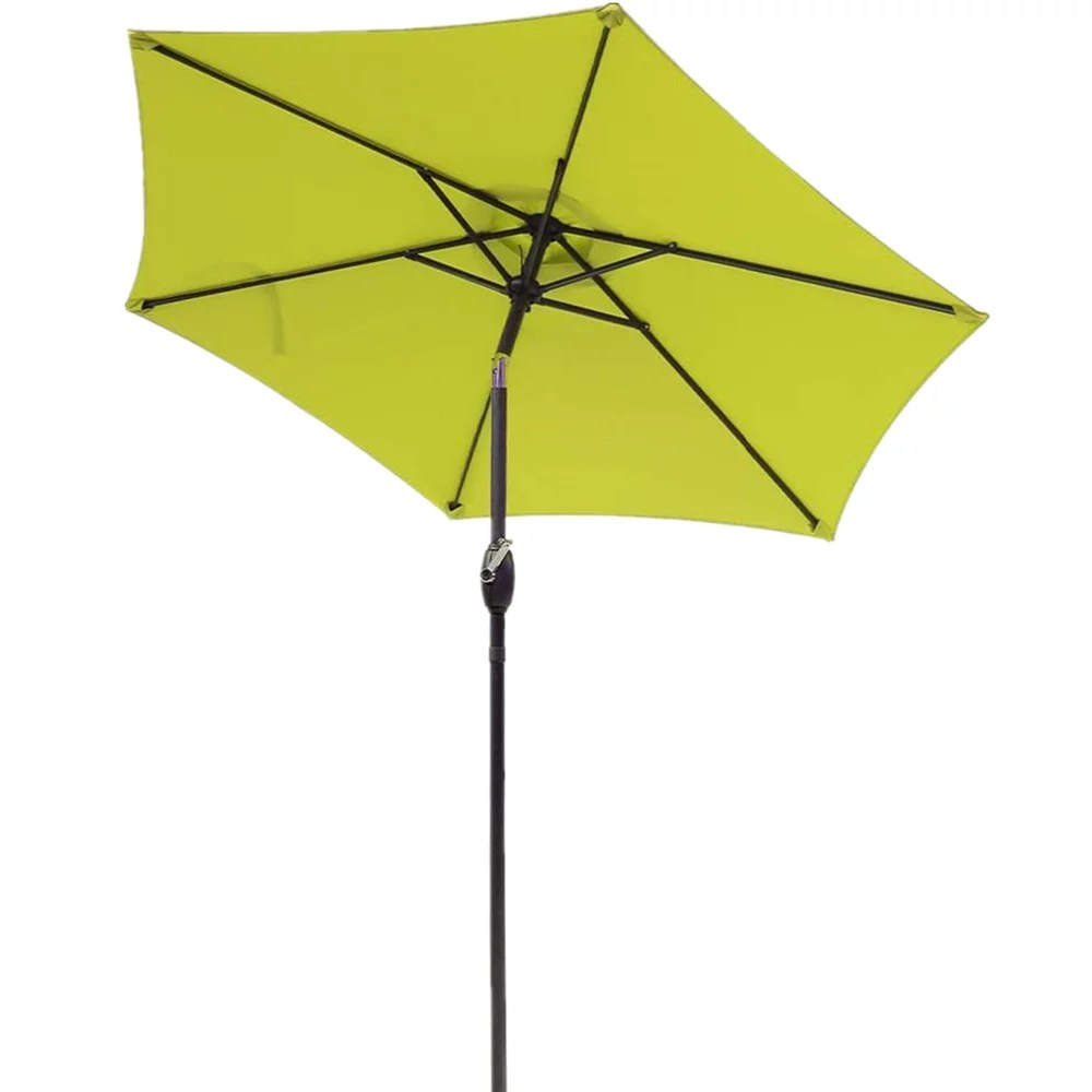7 5 ft patio umbrella outdoor market table umbrella with crank 6 ribs polyester canopy lemon green